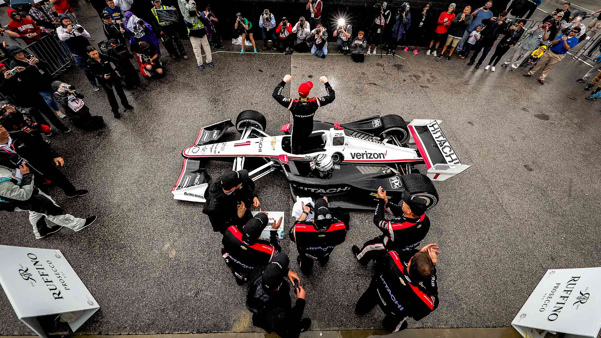 Josef Newgarden in victory circle at the Honda Indy Grand Prix of Alabama
