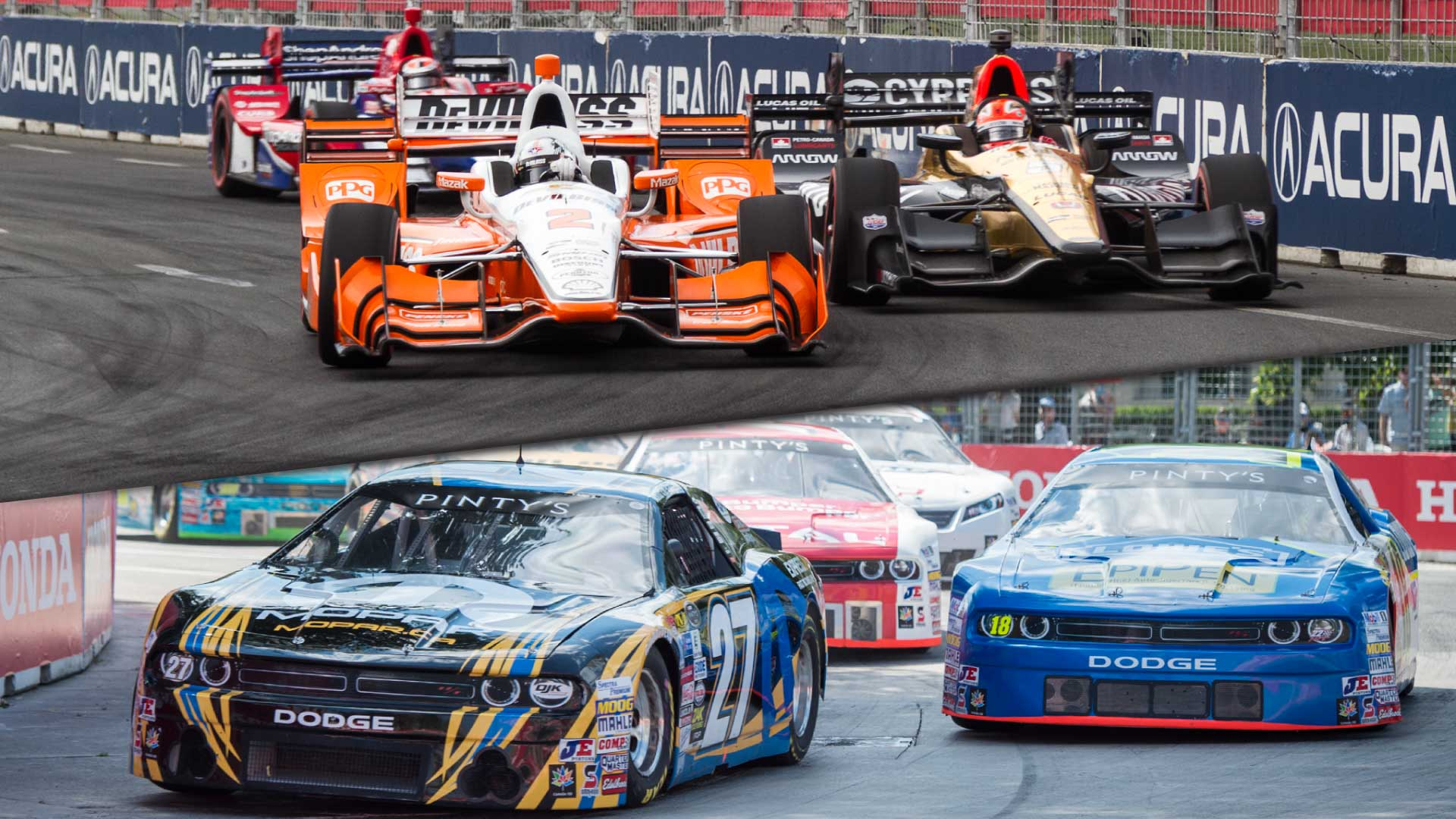 Indy Cars and NASCARS on the Honda Indy Toronto Track