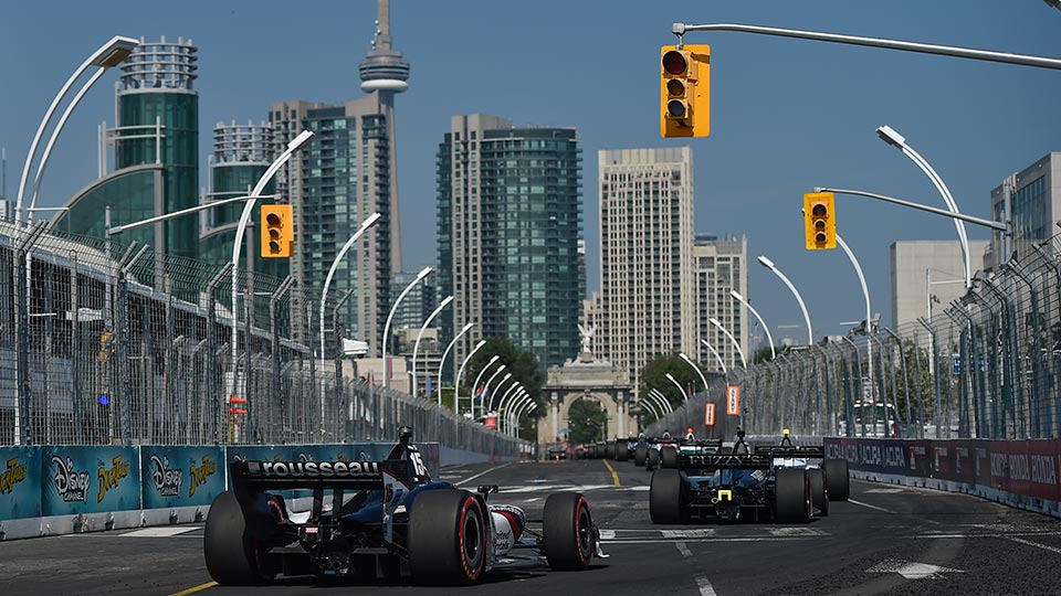 NTT INDYCAR SERIES cars on track at the Honda Indy Toronto