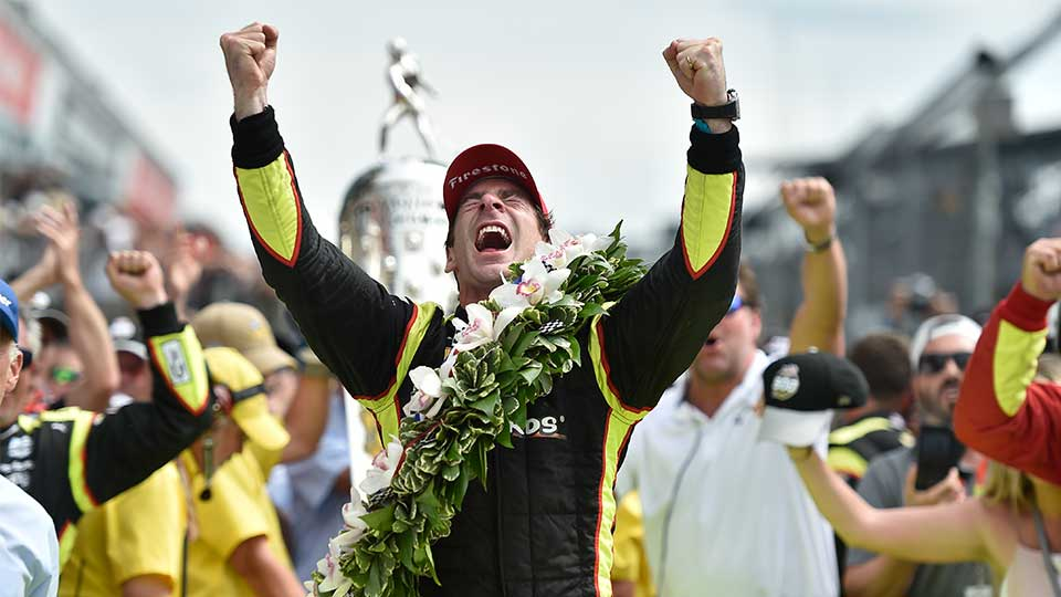 Simon Pagenaud celebrates his Indy 500 victory