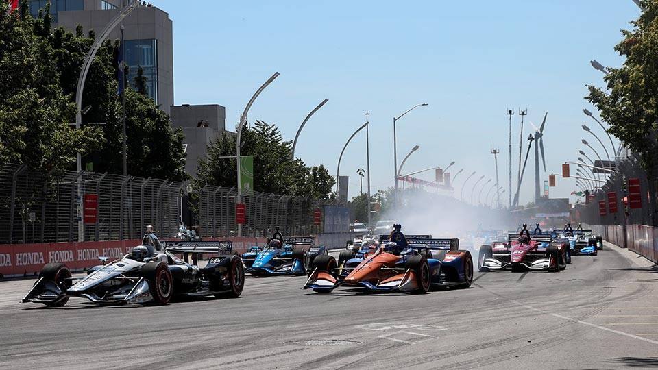 Indy Cars on track at the Honda Indy Toronto