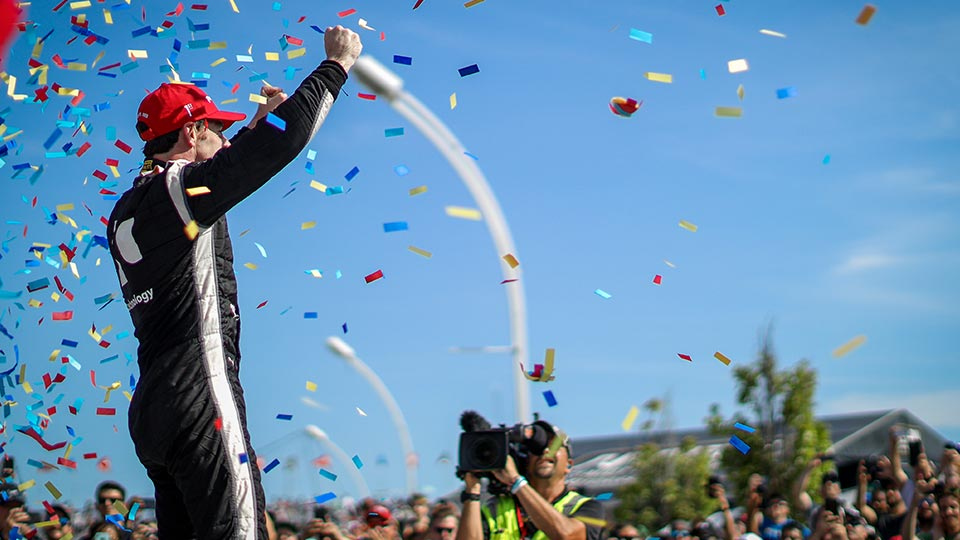 Simon Pagenaud celebrates his win at the Honda Indy Toronto