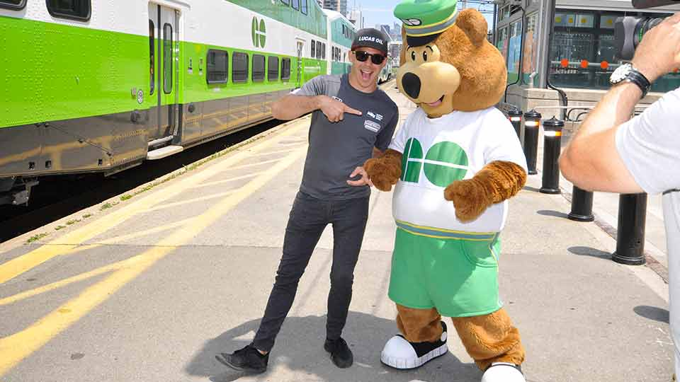 Robert Wickens takes the GO Train to Exhibition Station