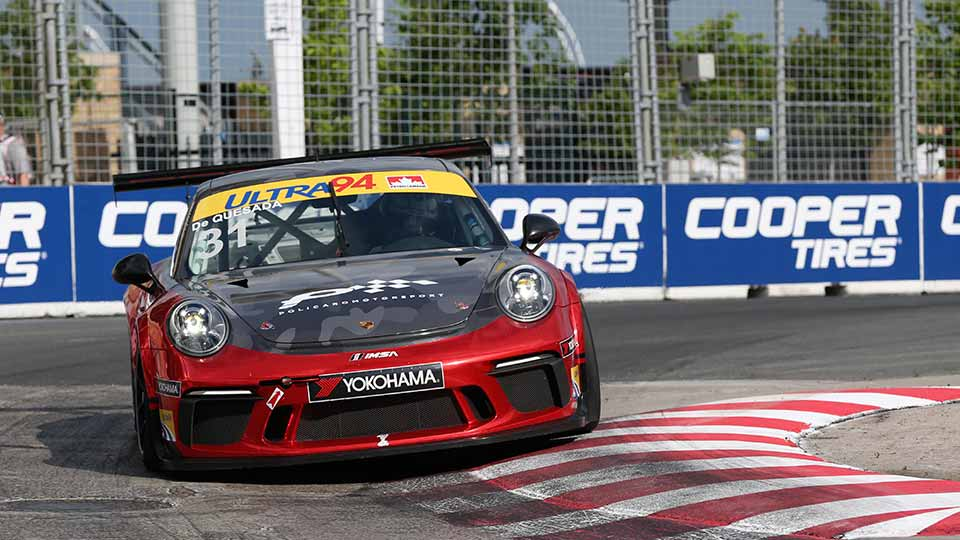 Porsche GT3 Cup car on the Honda Indy Toronto track